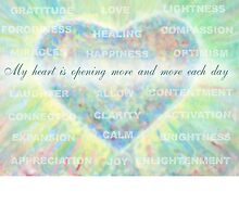 Inspirational Subliminal Art - Heart Chakra Opening Blue - Affirmations by vickieverlie