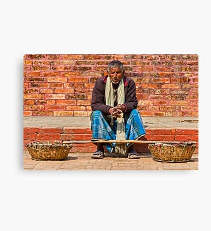 Wandering seller. Canvas Print