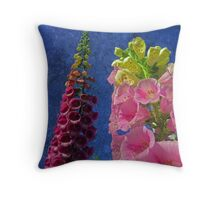 Two Foxglove flowers with textured background Throw Pillow