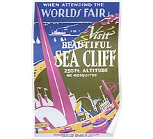 WPA United States Government Work Project Administration Poster 0233 World's Fair Beautiful Sea Cliff Poster