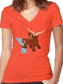 y for yale Women's Fitted V-Neck T-Shirt