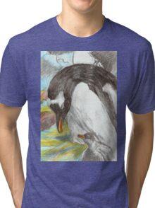 Gentoo Penguin and Chick- Falkland Islands Tri-blend T-Shirt