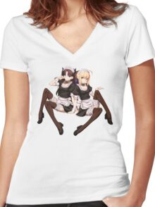 Saber x Rin Maids Women's Fitted V-Neck T-Shirt