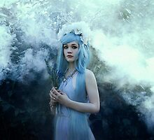 Mystic girl blue hair smoke fantasy elves by Liancary