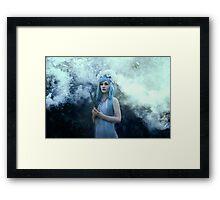 Mystic girl blue hair smoke fantasy elves Framed Print
