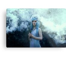 Mystic girl blue hair smoke fantasy elves Metal Print