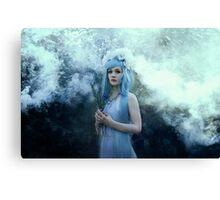 Mystic girl blue hair smoke fantasy elves Canvas Print