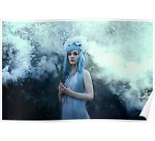 Mystic girl blue hair smoke fantasy elves Poster