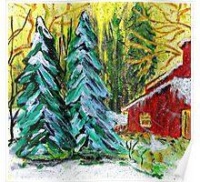 Yellow Christmas Sky Poster