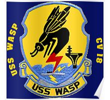 Crest of the USS Wasp CVS-18 for Dark Backgrounds Poster