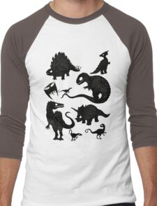 Silhouetted Dinosaurs Men's Baseball ¾ T-Shirt
