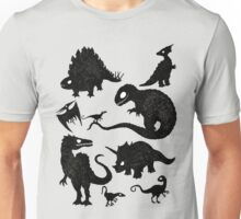 Silhouetted Dinosaurs Unisex T-Shirt