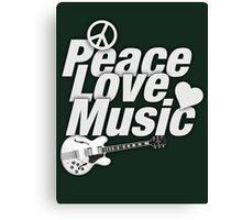 White Peace Love Music Canvas Print