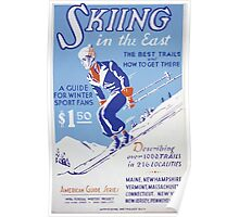WPA United States Government Work Project Administration Poster 0285 Skiiing In the East American Guide Series Poster