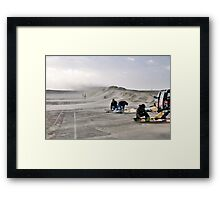 Sand storm on the Brouwersdam Framed Print