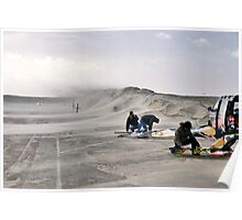 Sand storm on the Brouwersdam Poster