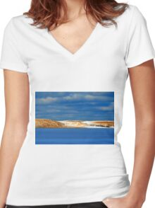 Winter at Silver Lake Sand Dunes Women's Fitted V-Neck T-Shirt
