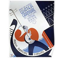 WPA United States Government Work Project Administration Poster 0280 Department of Parks Water Carnival Music Dancing Singing Poster