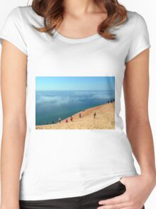 Fog on Lake Michigan at Sleeping Bear Dunes National Lakeshore Women's Fitted Scoop T-Shirt
