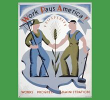 WPA United States Government Work Project Administration Poster 0111 Work Pays America Prosperity Kids Tee