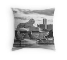 The Lion in Detroit Throw Pillow