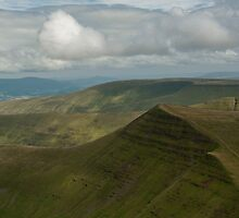 nr Libanus Brecon Beacons Wales UK. View from Pen y Fan, the highest peak in the Southern United Kingdom, looking eastwards towards Cribyn. by stuwdamdorp