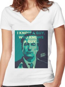 Saul Goodman - I Know a guy. Women's Fitted V-Neck T-Shirt