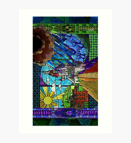 Beauty and the Beast-- stained glass castle (sideways) Art Print