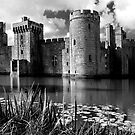 Bodiam Castle, East Sussex, England (B&W) by Bob Culshaw