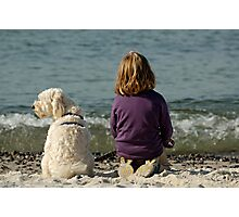 Child & pet dog on beach (2). Photographic Print