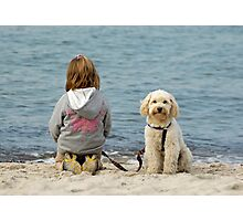 Child & pet dog on beach. Photographic Print