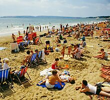 A busy Bournemouth beach (2), England, 1980s by David A. L. Davies