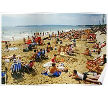 A busy Bournemouth beach (2), England, 1980s Poster