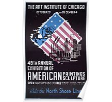WPA United States Government Work Project Administration Poster 0401 Art Institute of Chicago American Paintings Sculpture Exhibition Poster