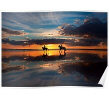 Riders at Sunset Poster