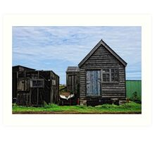 Black huts at Southwold Harbour, Suffolk Art Print