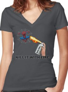 Kill it with Fire! Women's Fitted V-Neck T-Shirt