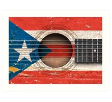 Old Vintage Acoustic Guitar with Puerto Rican Flag Art Print
