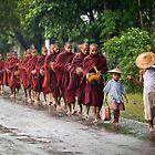 Burma, Monks in the Rain by Rob Dougall
