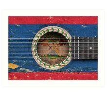 Old Vintage Acoustic Guitar with Belize Flag Art Print