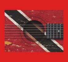 Old Vintage Acoustic Guitar with Trinidadian Flag One Piece - Long Sleeve
