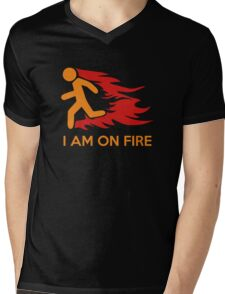I Am On Fire Mens V-Neck T-Shirt