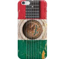 Old Vintage Acoustic Guitar with Mexican Flag iPhone Case/Skin