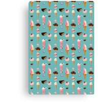 Sweet sweets (turquoise background) Canvas Print