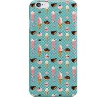 Sweet sweets (turquoise background) iPhone Case/Skin