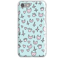 CUTE CATS PATTERN PINK AND BLUE iPhone Case/Skin