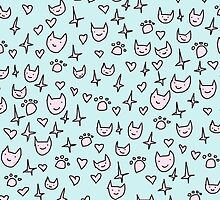 CUTE CATS PATTERN PINK AND BLUE by spiceboy
