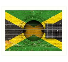 Old Vintage Acoustic Guitar with Jamaican Flag Art Print