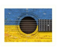 Old Vintage Acoustic Guitar with Ukrainian Flag Art Print