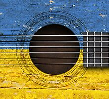 Old Vintage Acoustic Guitar with Ukrainian Flag by Jeff Bartels